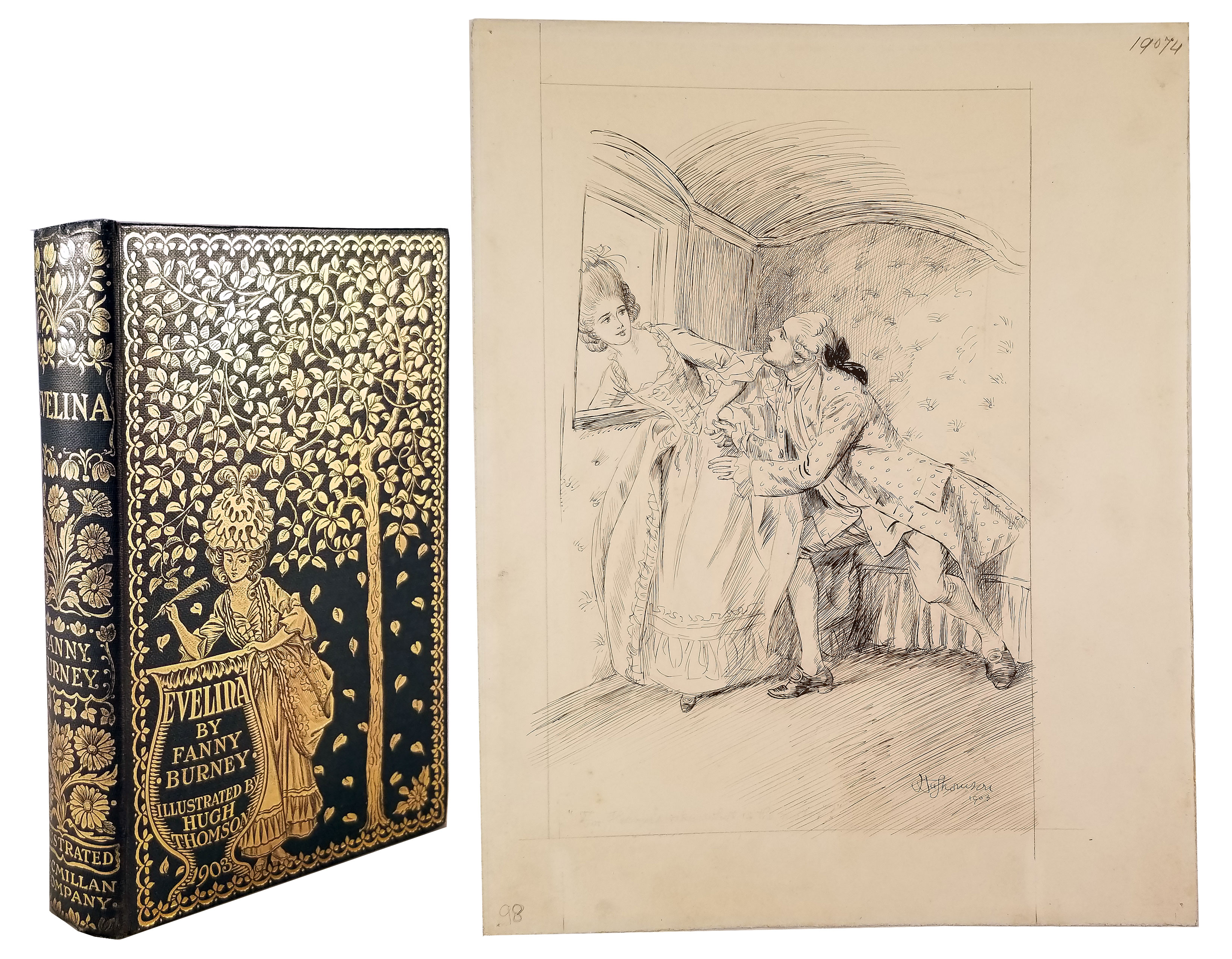 Image for EVELINA TOGETHER WITH AN ORIGINAL HUGH THOMSON PEN AND INK DRAWING USED FOR ONE OF THE ILLUSTRATIONS