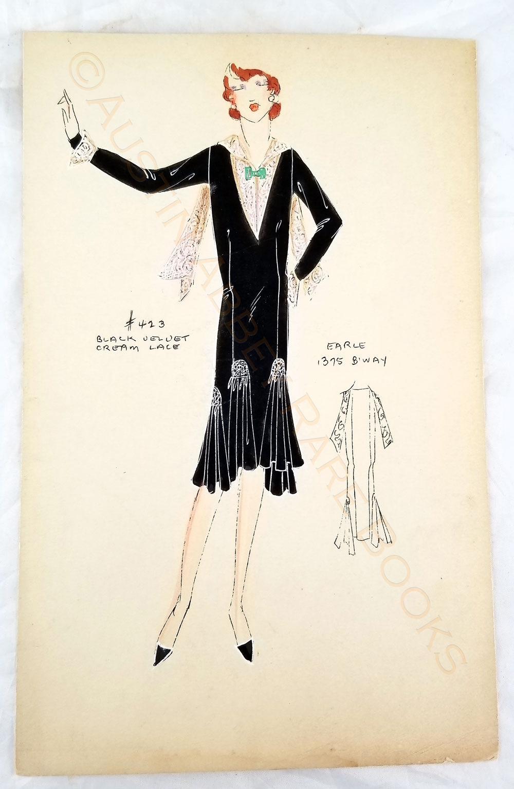 Image for COLLECTION OF EIGHT ORIGINAL HAND-PAINTED JAZZ AGE COUTURE FASHION DESIGNS