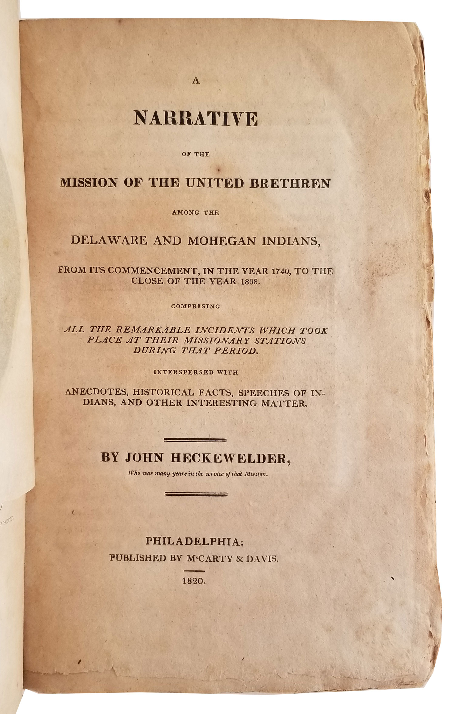 Image for A NARRATIVE OF THE MISSION OF THE UNITED BRETHREN AMONG THE DELAWARE AND MOHEGAN INDIANS